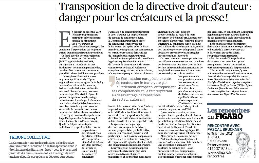 Transposition de la directive droit d'auteur : danger pour les créateurs et la presse – Tribune dans le Figaro