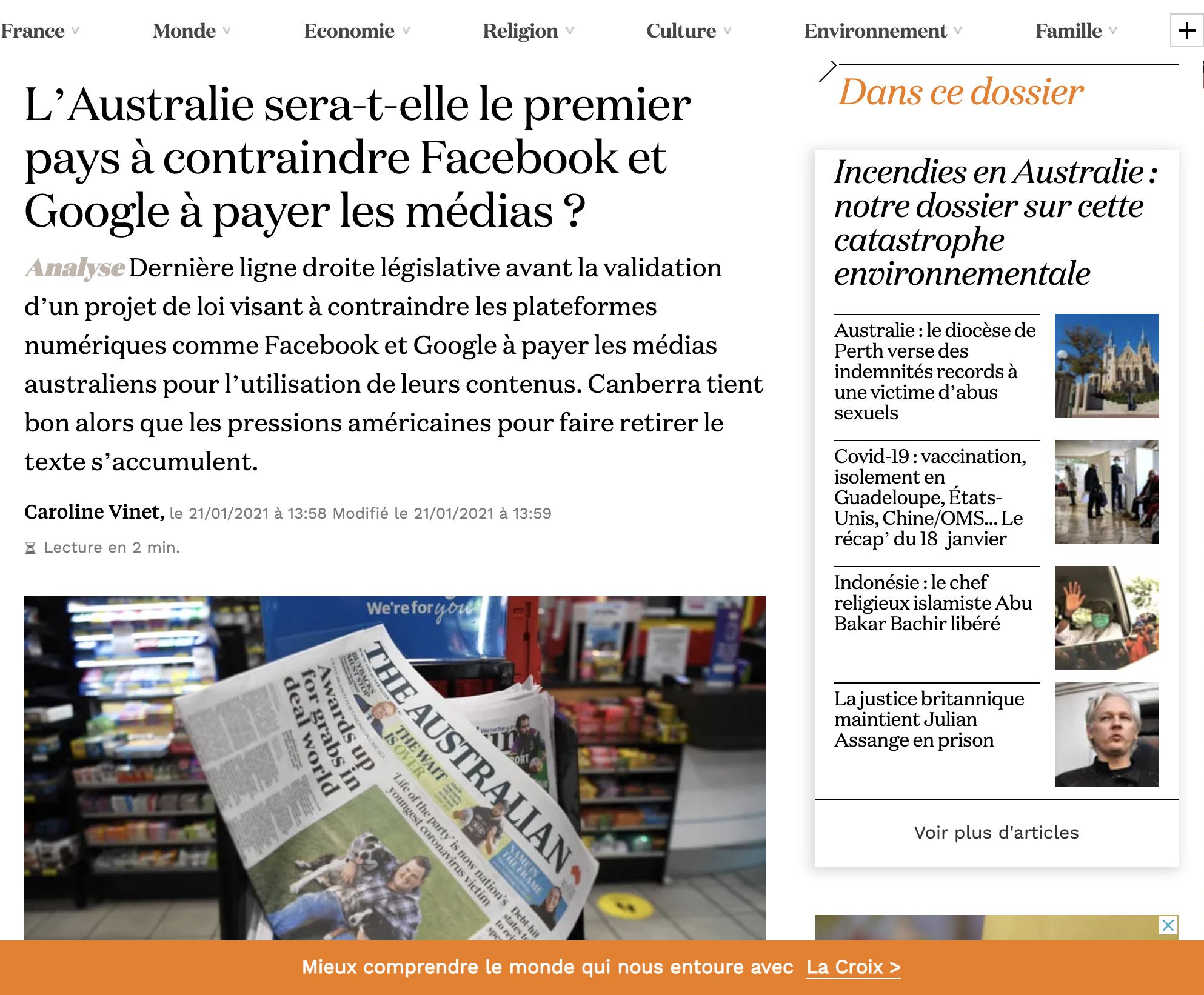 L'Australie sera-t-elle le premier pays à contraindre Facebook et Google à payer les médias?