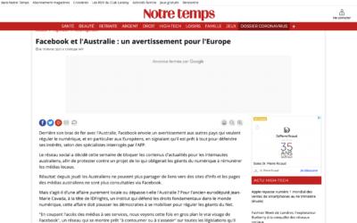 Facebook et l'Australie : un avertissement pour l'Europe  – Notre Temps