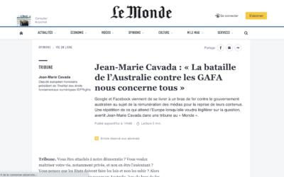 Jean-Marie Cavada : « La bataille de l'Australie contre les GAFA nous concerne tous » – Le Monde