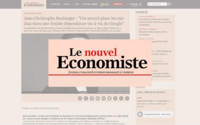 """Jean-Christophe Boulanger : """"Cet accord place les médias dans une double dépendance vis-à-vis de Google"""" – Le Nouvel Économiste"""