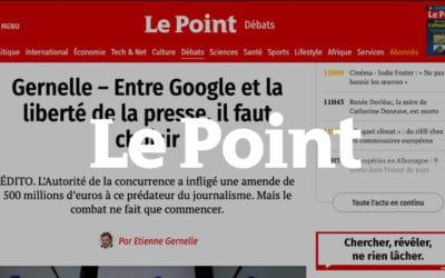 Editorial d'Etienne Grenelle : Entre Google et la liberté de la presse, il faut choisir – Le Point