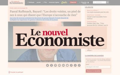 """Pascal Ruffenach, Bayard Presse :""""Les droits voisins, un pied de nez à ceux qui disent que l'Europe n'accouche de rien""""  – Le Nouvel Économiste"""